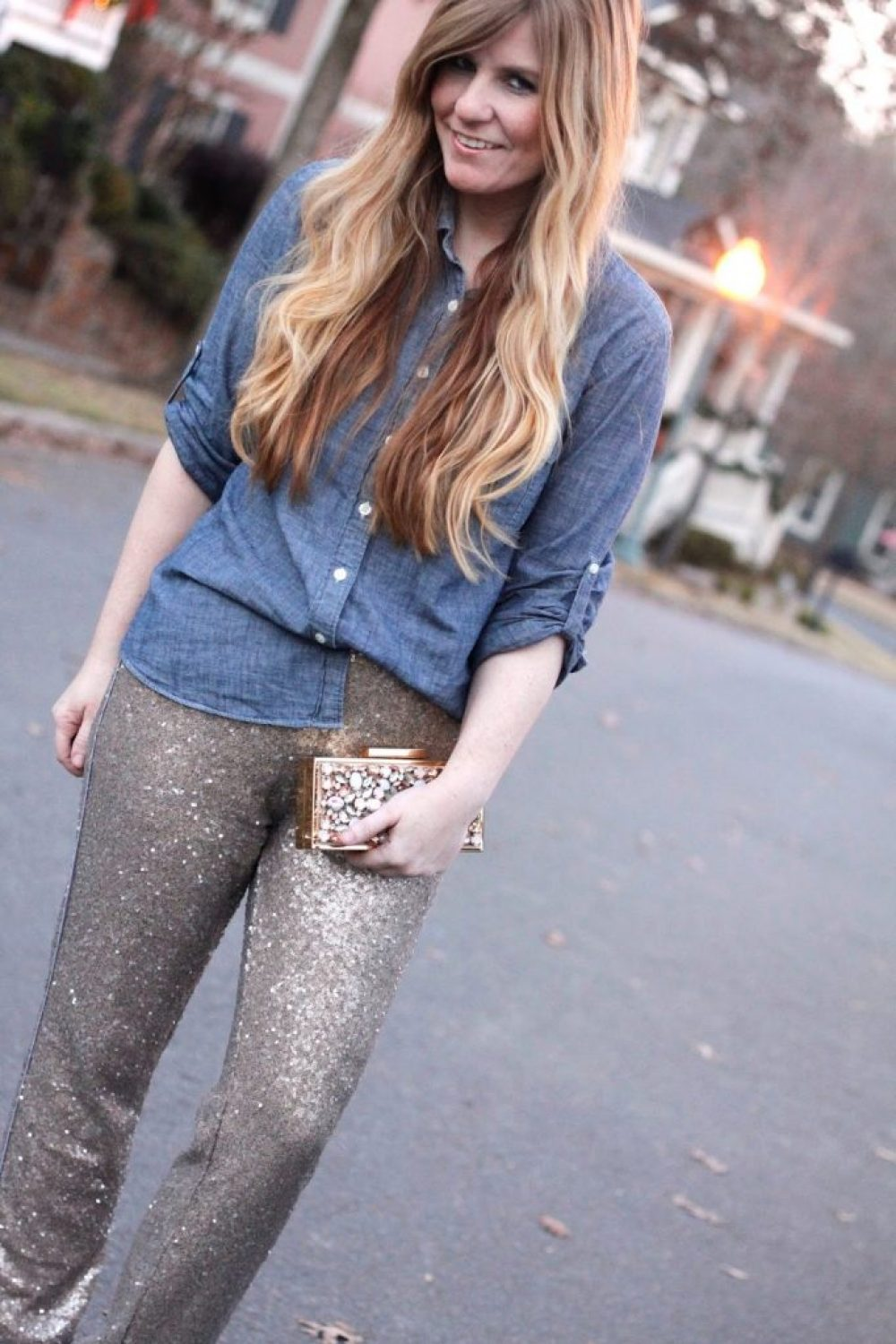 How I Wore My Heels: Sequin Joggers for the NEW YEAR