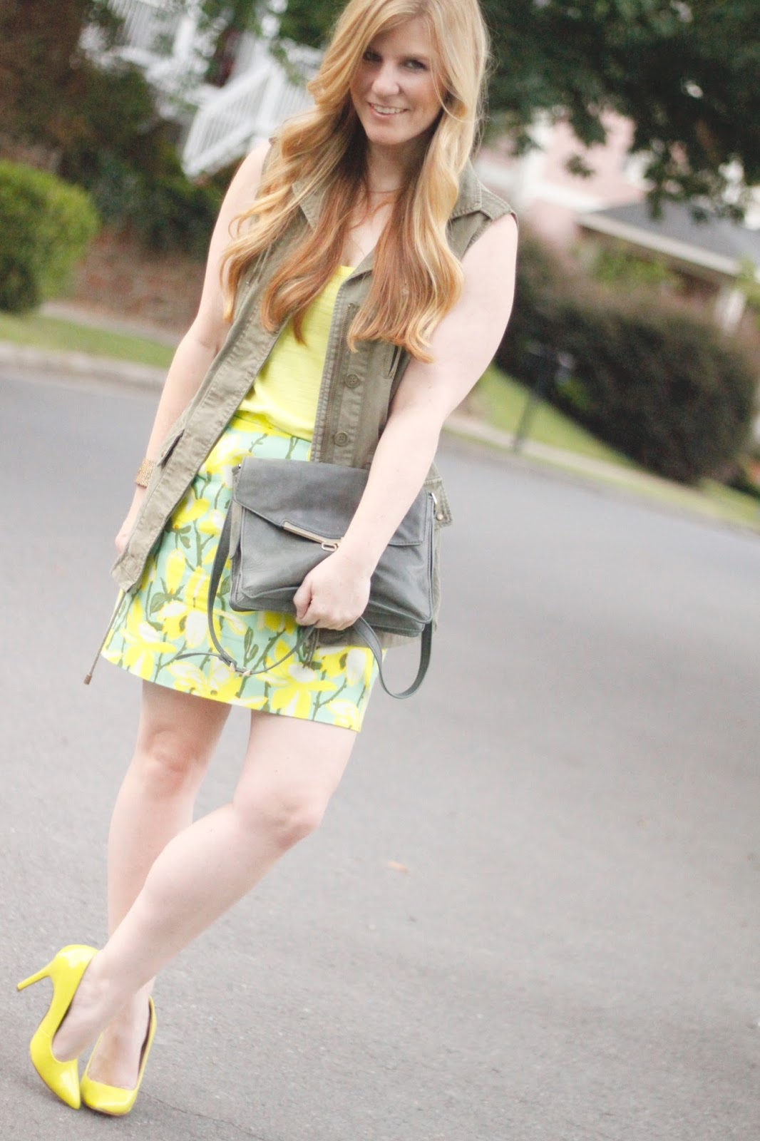 neon tank and green botkier valentina bag