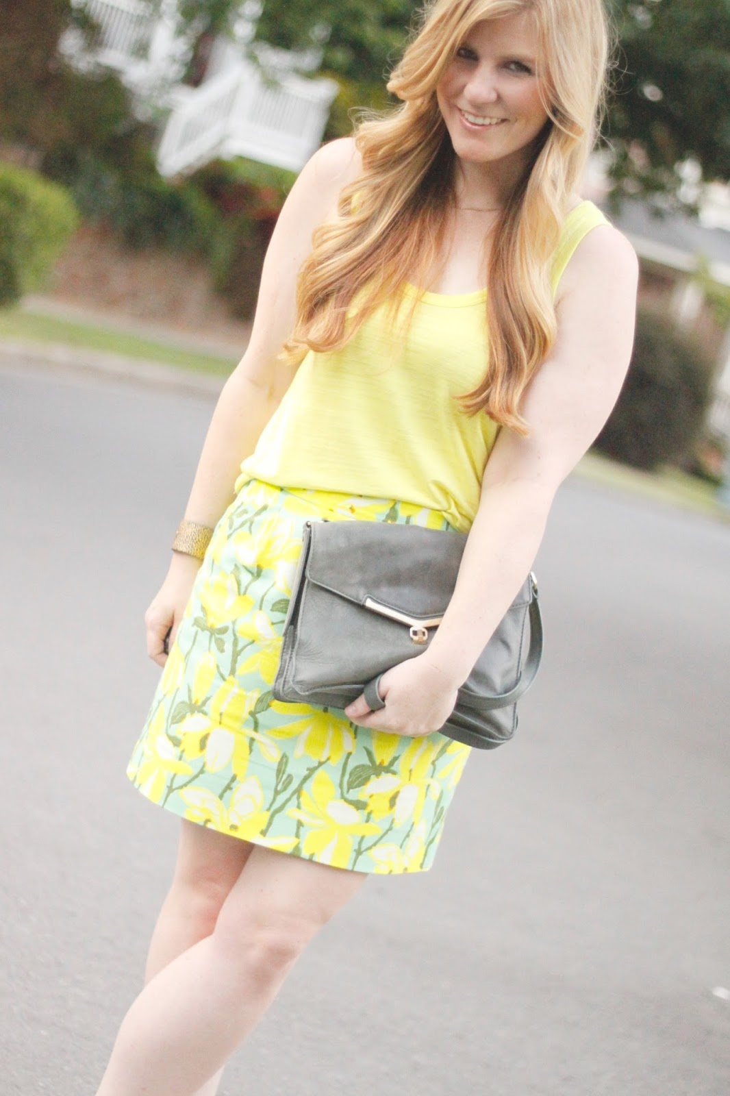 neon j.crew outfit and heels with botkier valentina bag