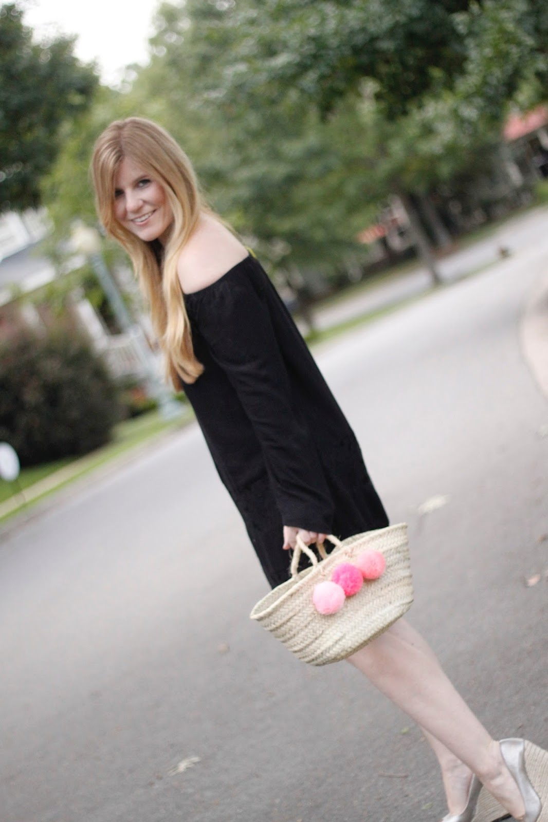 Off the Shoulder BCBGeneration dress with pom pom bag and Vince Camuto wedges