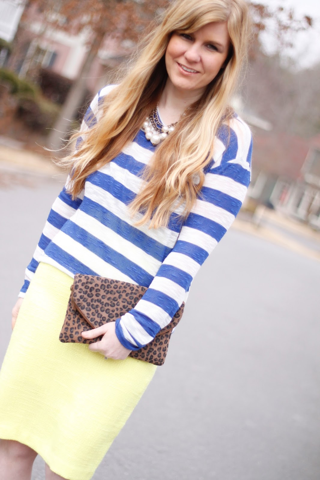 LNA striped shirt and neon pencil skirt