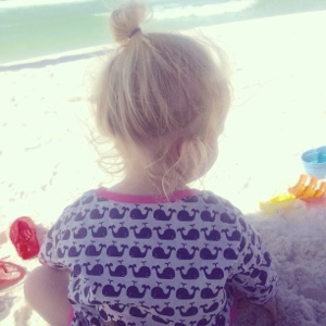 At the beach wearing Pottery Barn Kids