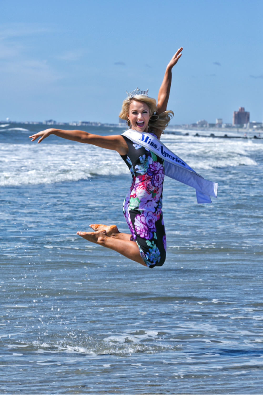 Savvy Shields, Miss America does the traditional toe dip in a floral dress