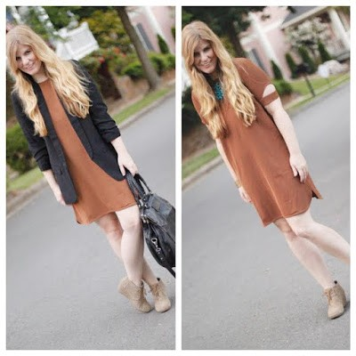Tobi Brown Dress Boyfriend Blazer TOMS wedges