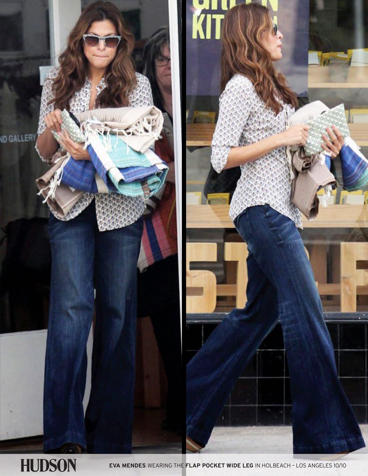 Fashion style Wear celebs wide leg jeans for lady