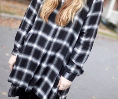 How I Wore My Heels: Velvet Leggings, Plaid Tunic