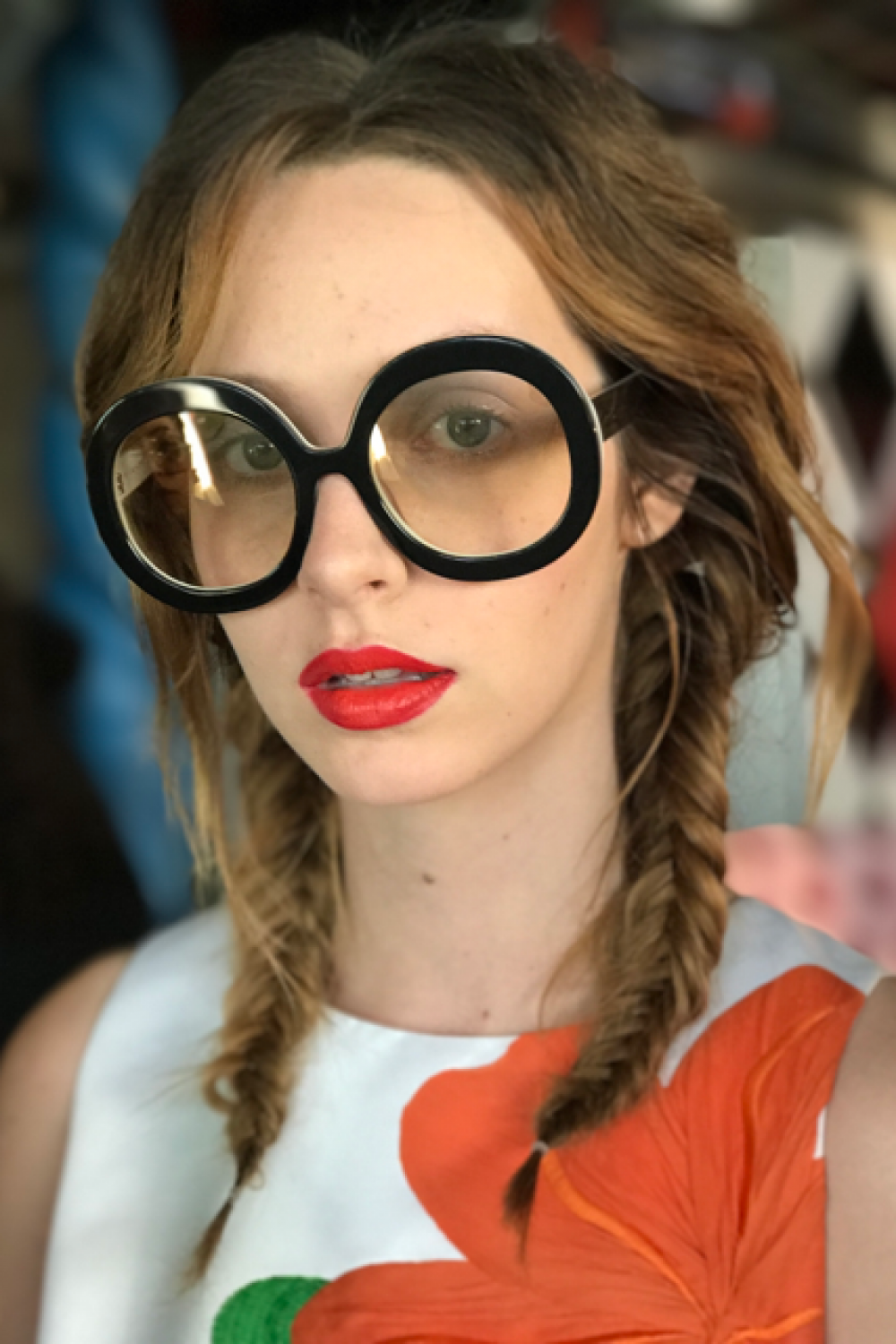 alice and Olivia eyewear with Maybelline New York lipstick