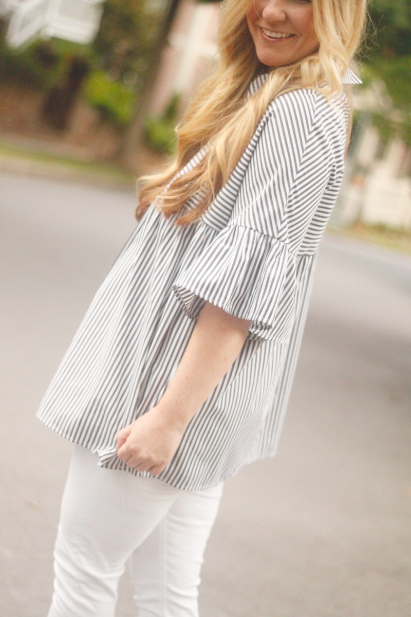 Striped Shirt with White Jeans 1