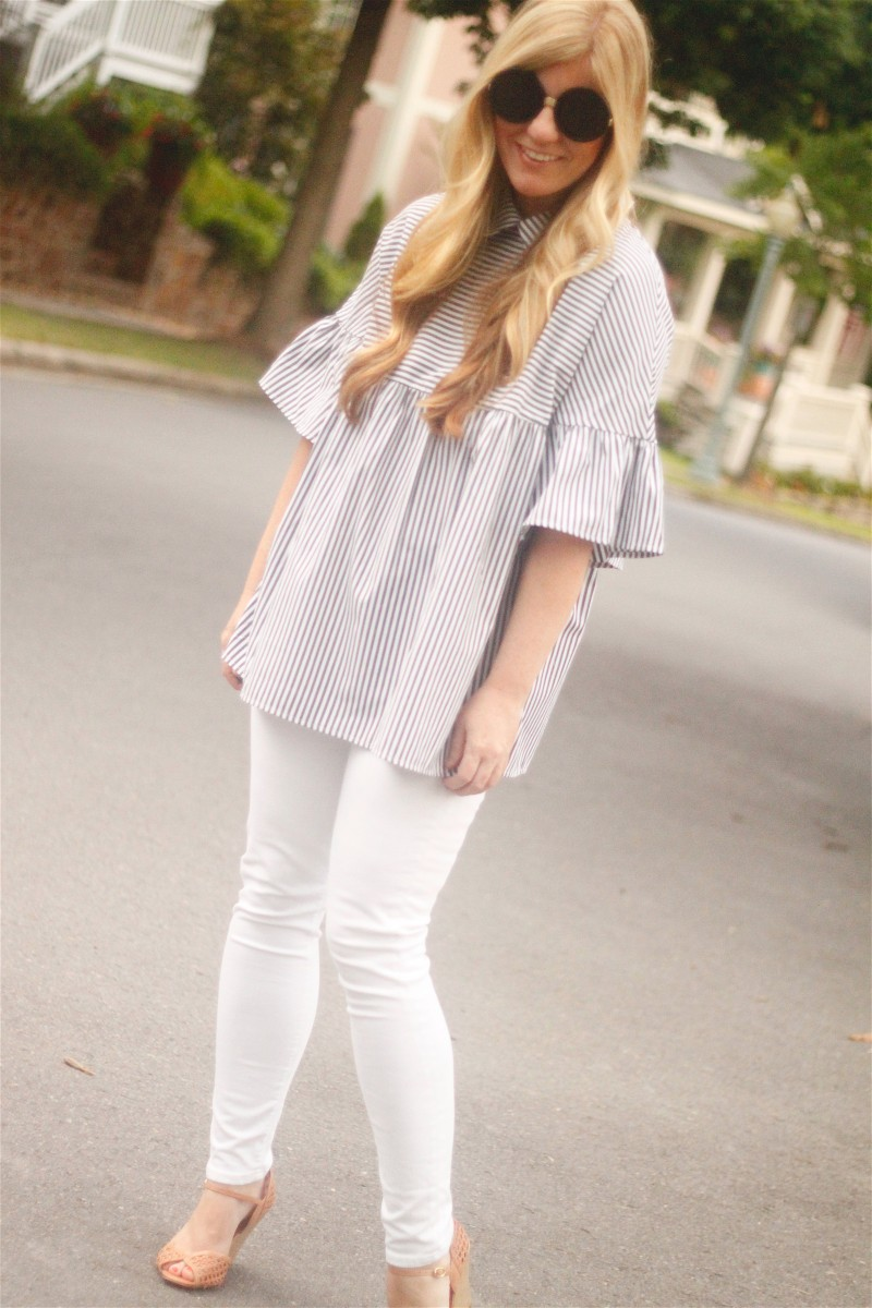 Striped Shirt with White Jeans 3