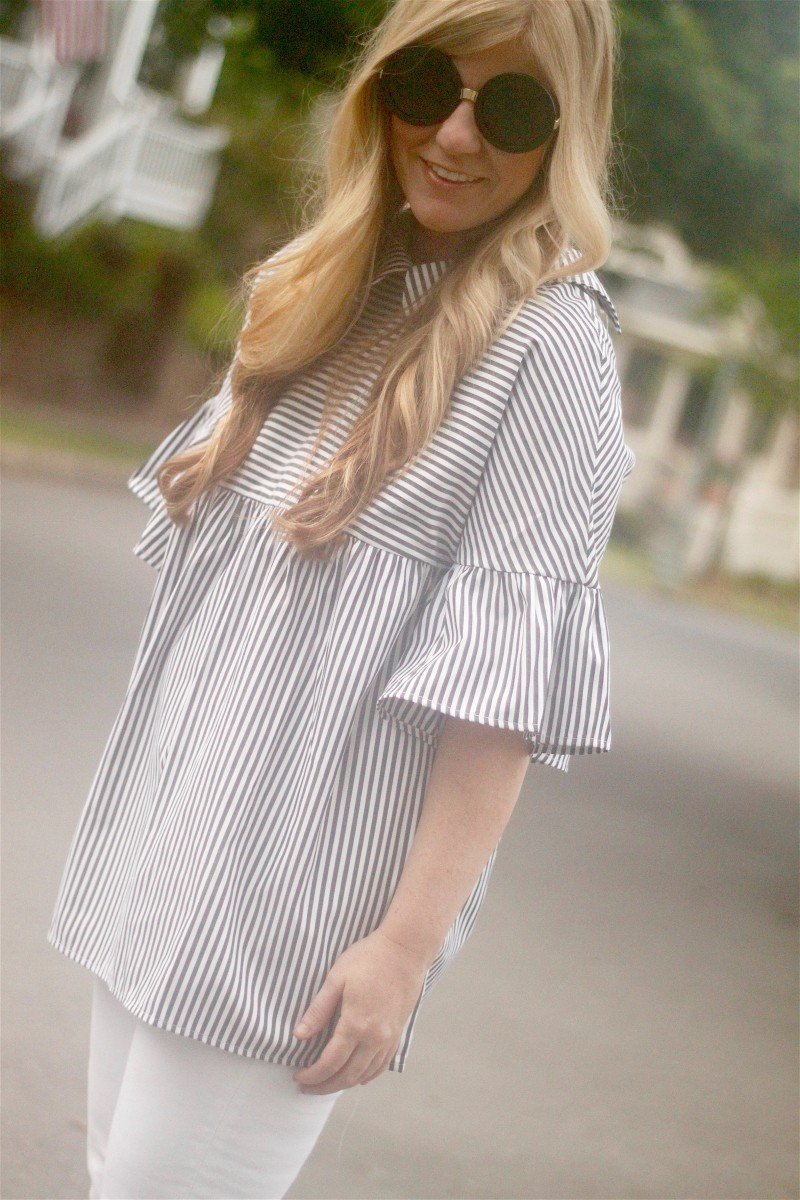 Striped Shirt with White Jeans 4