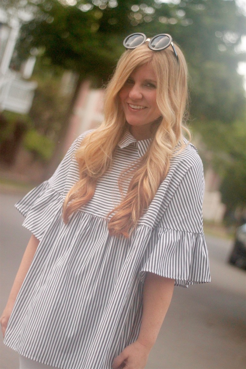 Striped Shirt with White Jeans 5