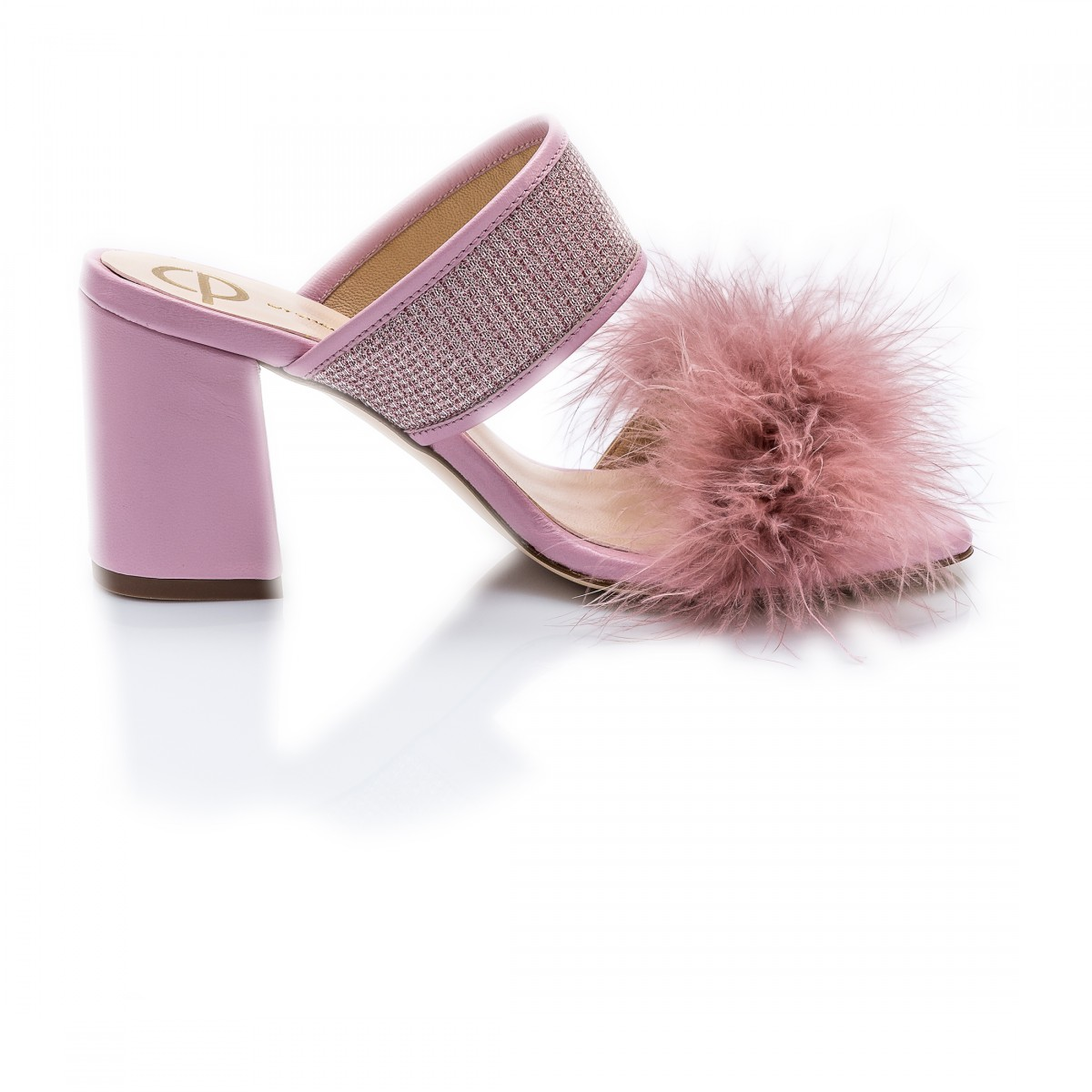 Pink Feather Block Heels